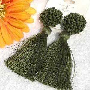New! Large Olive Boho Earrings Fluffy Post Tassels